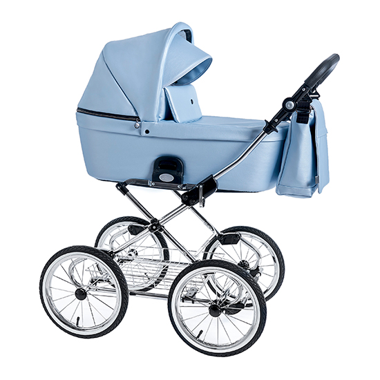 Детская коляска люлька Roan Coss Classic эко-кожа (Blue Pearl)/(Голубой)