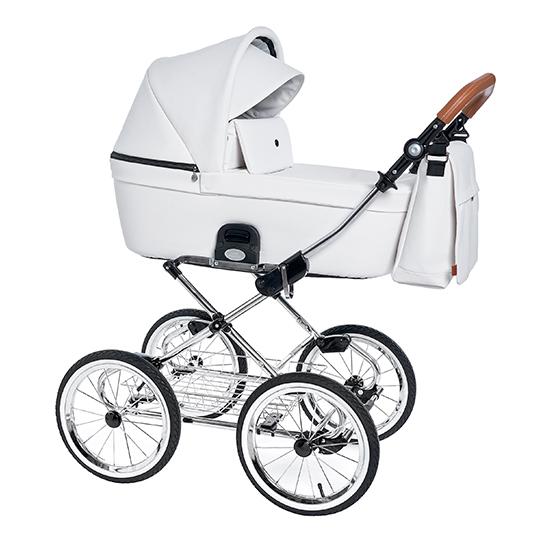 Детская коляска люлька Roan Coss Classic эко-кожа (Caramel White)/(Белый)
