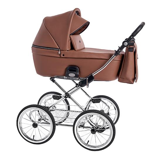 Детская коляска люлька Roan Coss Classic эко-кожа (Cognac)/(Коричневый)