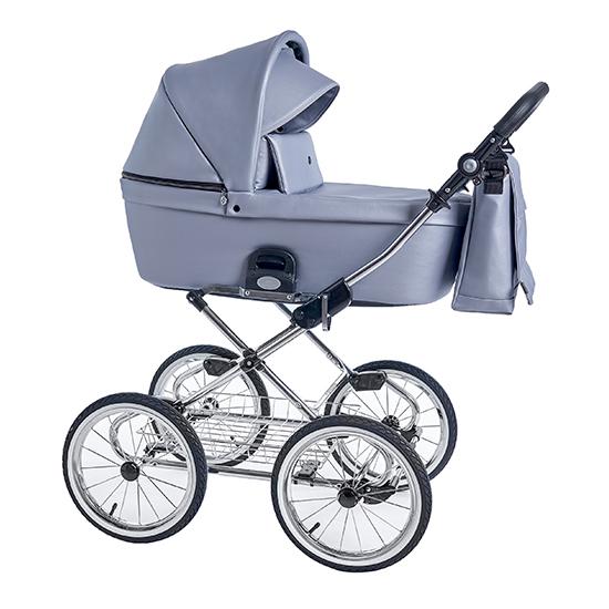 Детская коляска люлька Roan Coss Classic эко-кожа (Grey Pearl)/(Серо-голубой)