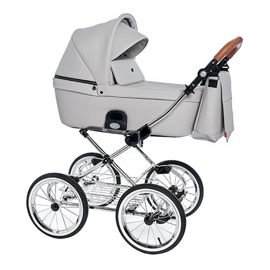 Детская коляска люлька Roan Coss Classic эко-кожа (Island Stone)/(Темно-серый)
