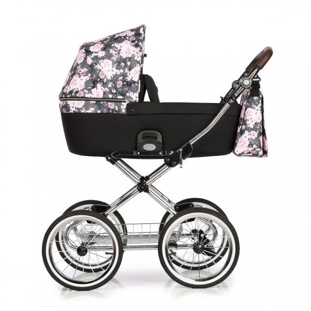 Детская коляска Roan Coss Classic 2 в 1 (Night Flowers)/(Черный/Розовый) в цветочек