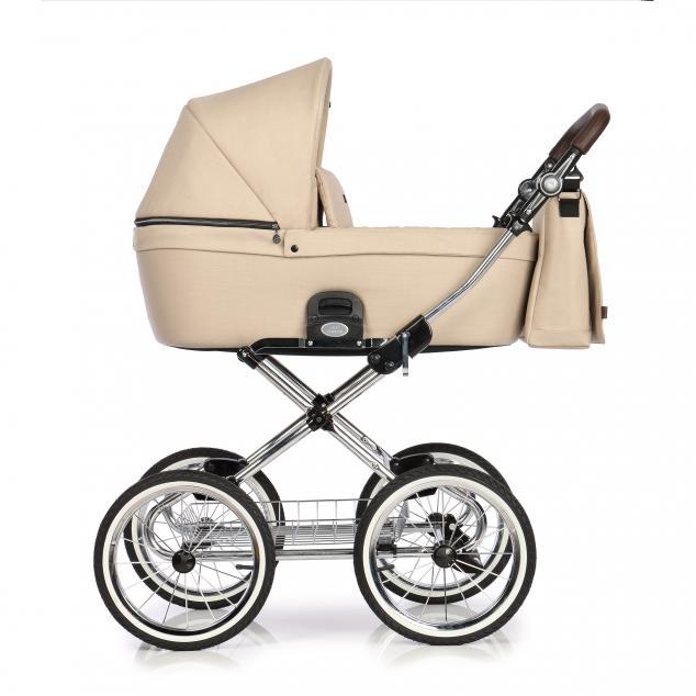 Детская коляска люлька Roan Coss Classic эко-кожа (Nougat)/(Темно-бежевый)