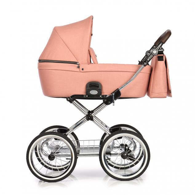 Детская коляска люлька Roan Coss Classic эко-кожа (Rosy)/(Светло-розовый)