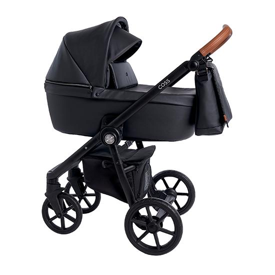 Детская коляска Roan Coss 2 в 1 эко-кожа New 2021 Black Pearl (Черный)