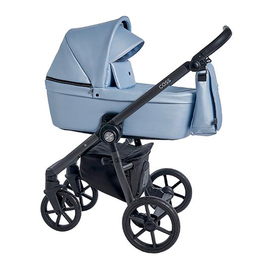 Детская коляска Roan Coss 2 в 1 эко-кожа New 2021 Blue Pearl (Голубой)