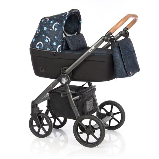 Детская коляска Roan Coss 2 в 1 (Черный/Синий с принтом)