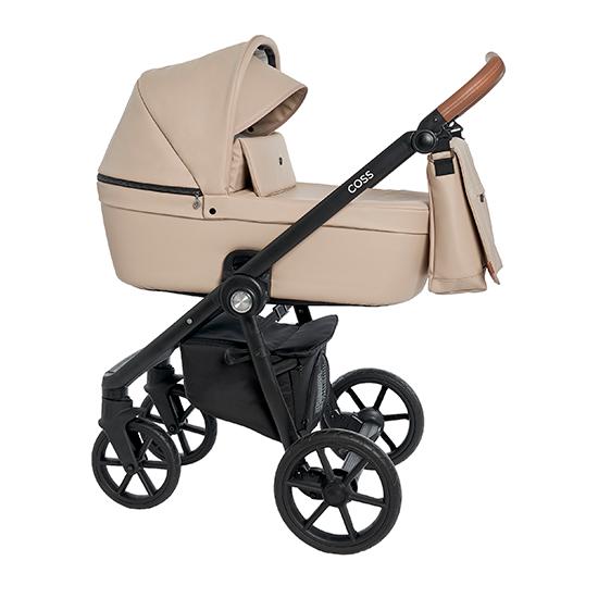 Детская коляска Roan Coss 2 в 1 эко-кожа New 2021 Cappucino (Бежевый)