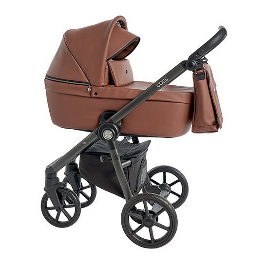 Детская коляска Roan Coss 3 в 1 эко-кожа New 2021 Cognac (Коричневый)