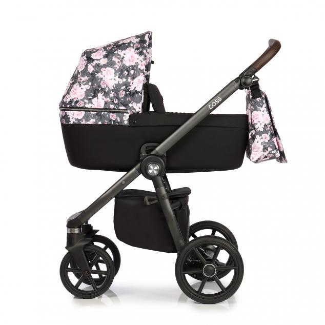Детская коляска Roan Coss 3 в 1 (Night Flowers)/(Черный/Розовый) в цветочек
