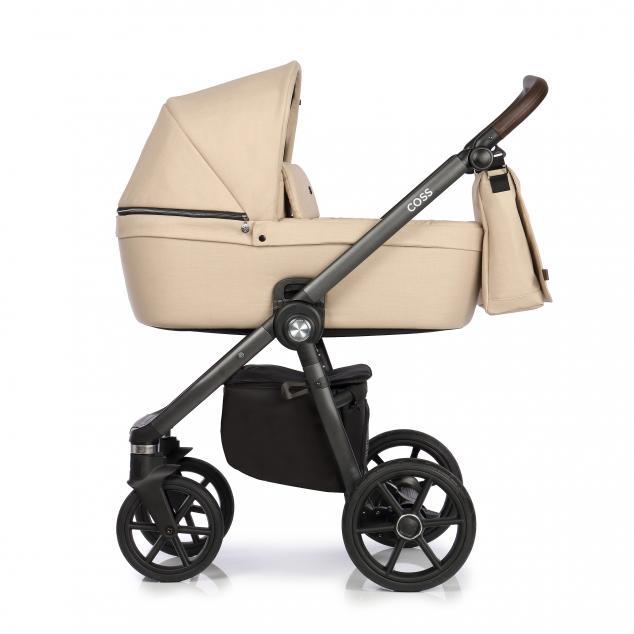 Детская коляска Roan Coss 3 в 1 эко-кожа (Nougat)/(Темно-бежевый)