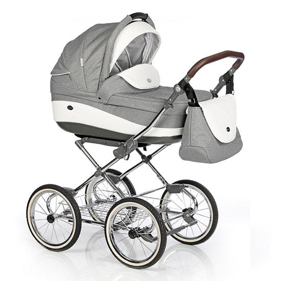Детская коляска Roan Emma 3 в 1 (Серый/белый) / хромированная рама