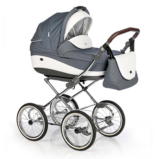 Детская коляска Roan Emma 3 в 1 (Синий-белый) в горох / крашеная рама