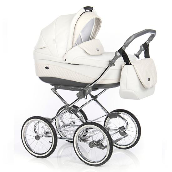 Детская коляска 3 в 1 Roan Emma E-78 (Белый/Светло-бежевая кожа)
