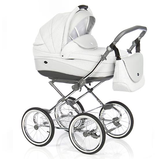 Детская коляска 3 в 1 Roan Emma E-80 (Белый/Серая кожа)