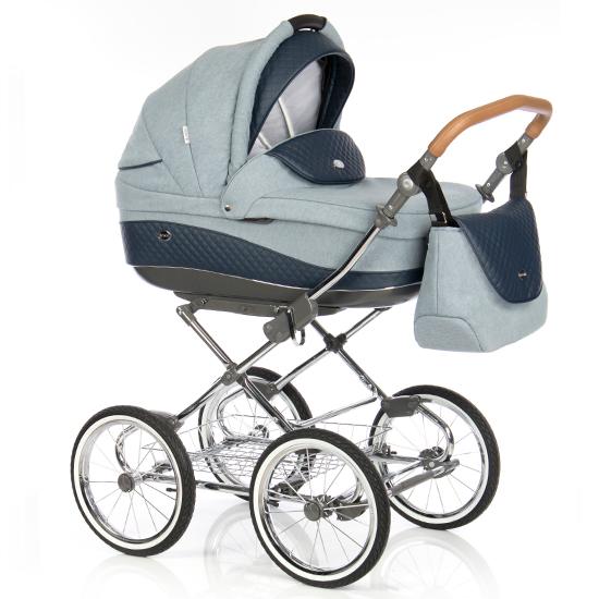 Детская коляска Roan Emma 3 в 1 (Голубой/Синий) / хромированная рама