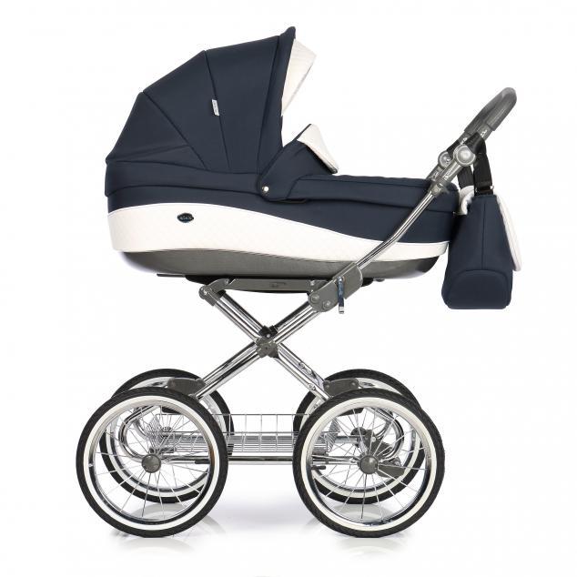 Детская коляска Roan Emma 3 в 1 (Темно-синий/Белый) / крашеная рама