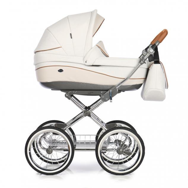 Детская коляска Roan Emma 3 в 1 (Белый/бежевый) / хромированная рама