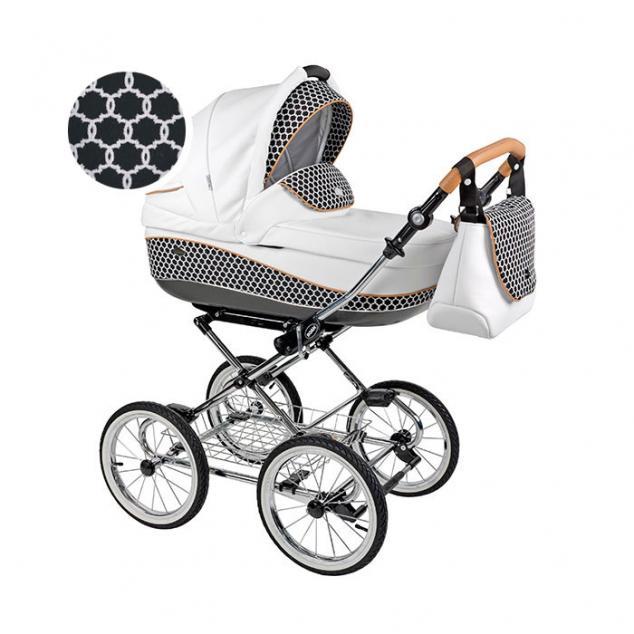 Детская коляска 3 в 1 Roan Emma E-42 (Белый/Черный с рисунком)
