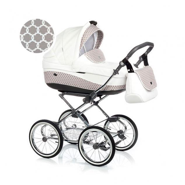 Детская коляска Roan Emma 3 в 1 (Белый/Бежевый) в горох / хромированная рама