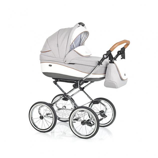Детская коляска 3 в 1 Roan Emma E-54 (Светлый серый/Белая кожа)