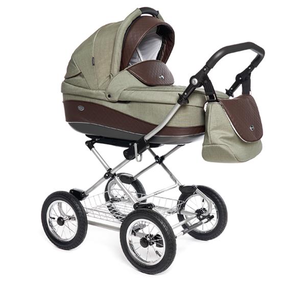 Детская коляска 3 в 1 Roan Emma E-96 (Зеленый/Коричневая кожа)