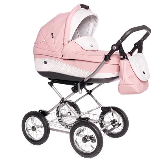 Детская коляска Roan Emma 3 в 1 (Розовый/белый) /хромированная рама
