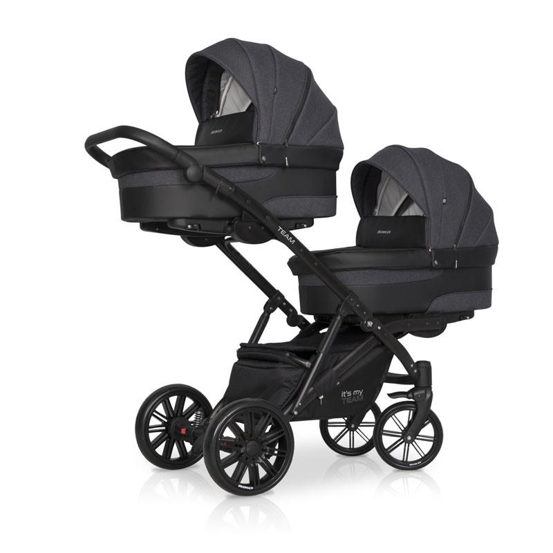 Детская коляска для двойни Riko Team 2 в 1 2020 NEW (Черный)