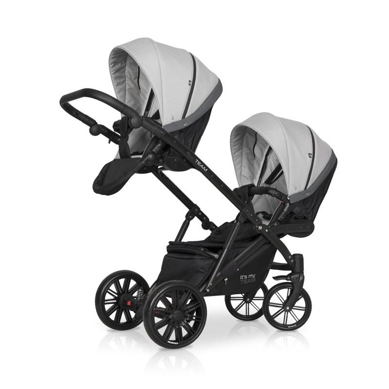 Детская коляска для двойни Riko Team 2 в 1 2020 NEW (Серый)