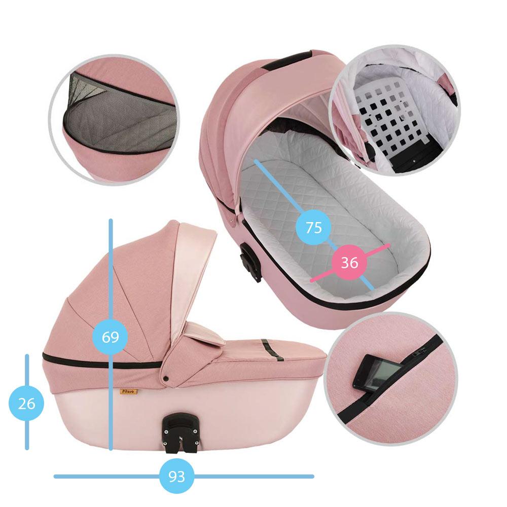 Коляска 2 в 1 Pituso Confort плюс/Розовый