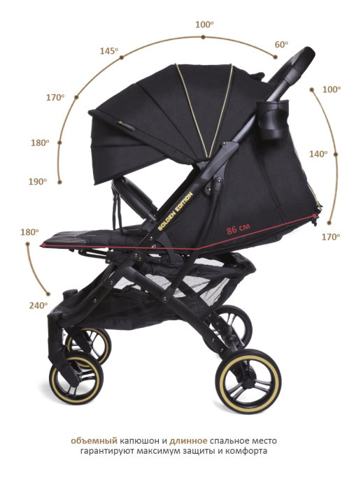 Прогулочная коляска  Jetem Lavida/черный, золотой (черная рама)