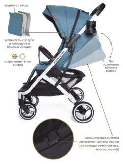 Прогулочная коляска  Jetem Lavida/синий (белая рама)