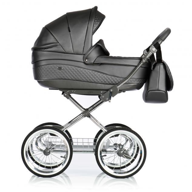 Детская коляска 3 в 1 Roan Emma E-95 (Чёрная кожа)